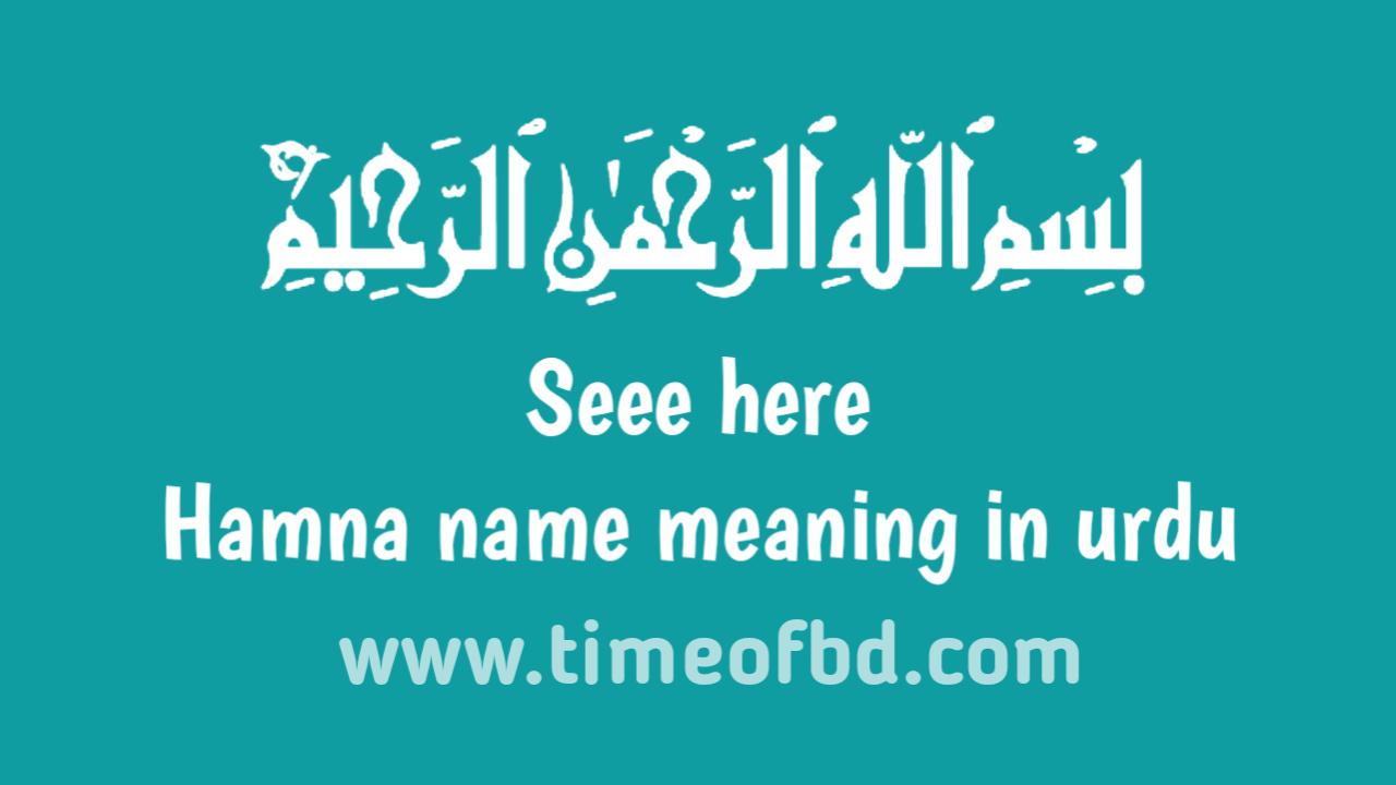 Hamna name meaning in urdu, حمنا نام کا مطلب اردو میں ہے