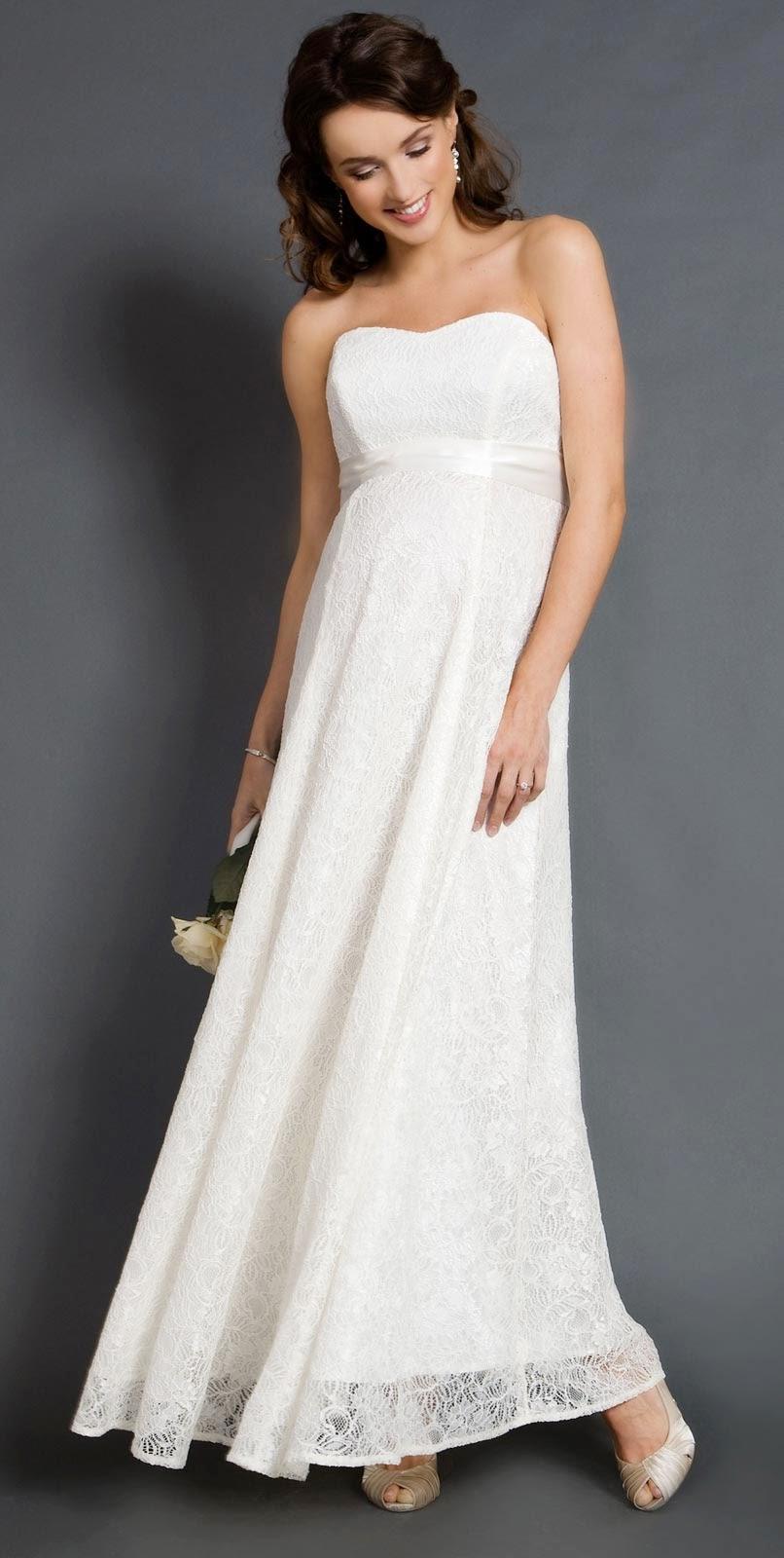 Designer White Maternity Beach Wedding Dresses Without