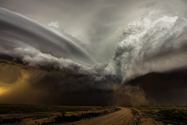 Two storm cells over New Mexico
