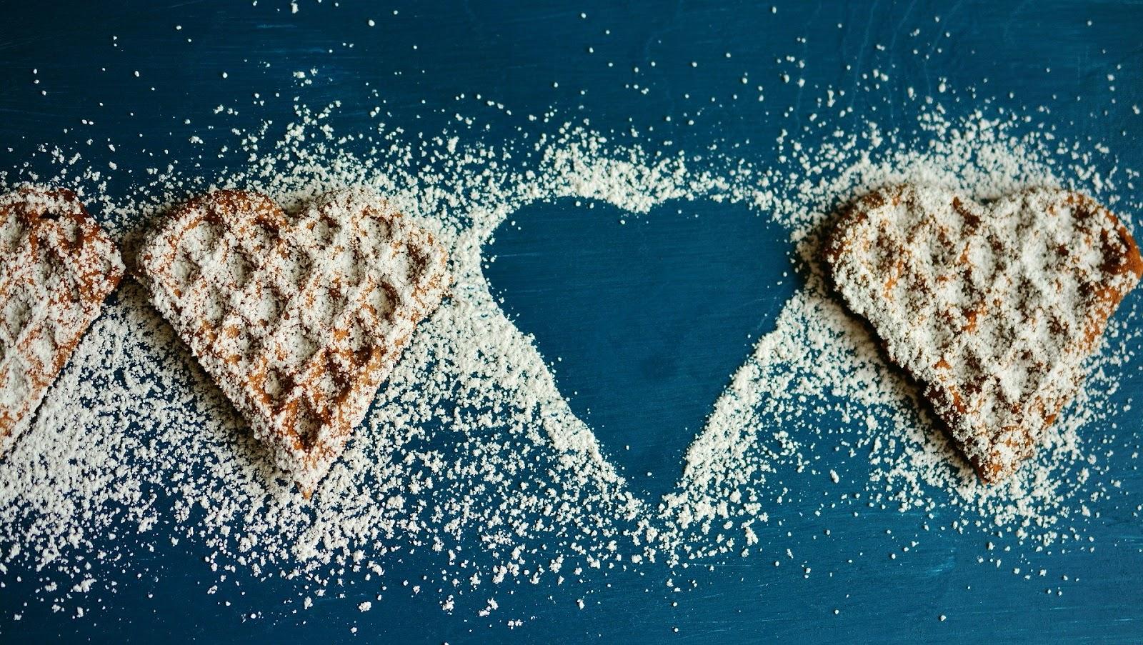 Waffle Heart Waffles Icing Sugar Pastries Eat Bake pics