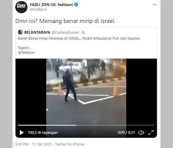 Ambulans Ditembaki Gas Air Mata Saat Demo Omnibus Law, Fadli Zon: Mirip di Israel