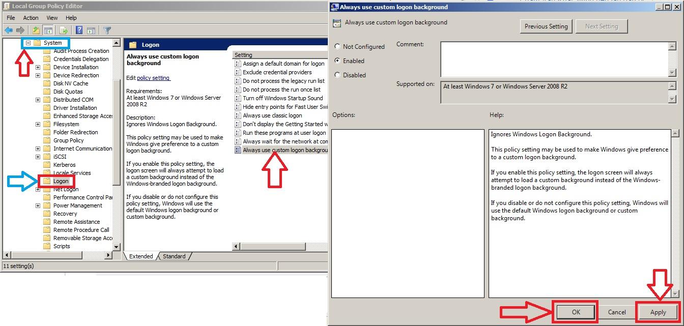 tùy chỉnh thiết lập hình nền logon trên windows