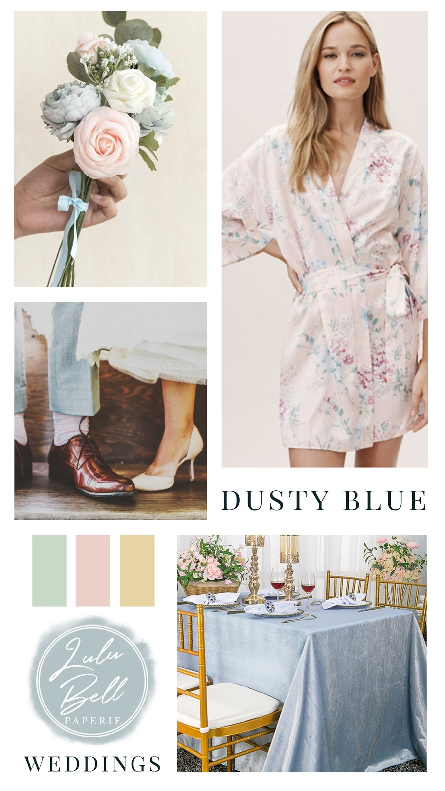 Dusty Blue Blush Pink and Green Wedding Color Palette Inspiration