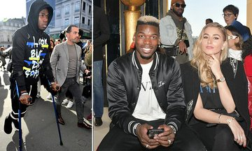 Wow Man United Star Paul Pogba Spotted On Crutches At Paris Fashion Week (Photos)