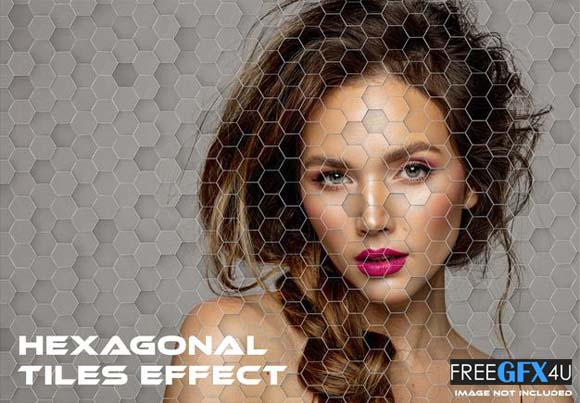 Hexagonal Tiles PSD Graffiti Effect Mock-up