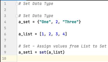 Set data type in Python