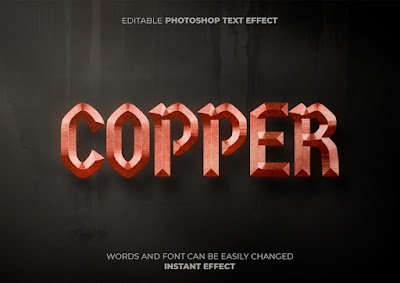 3D Text Effect Logam PSD