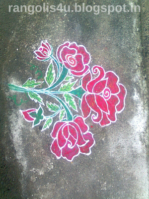 New Year Rangolis with Red Rose