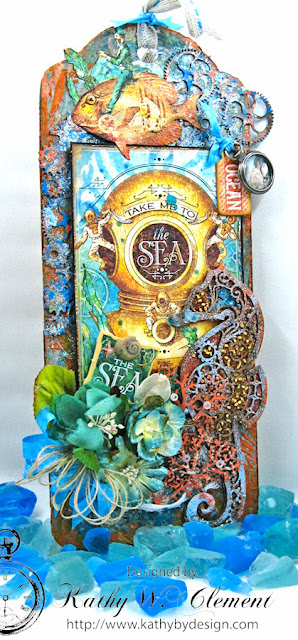 Steampunk Seahorse Tutorial by Kathy Clement, Product by Gypsy Soul Laser Cuts and Graphic 45 Voyage Beneath the Sea Photo 1