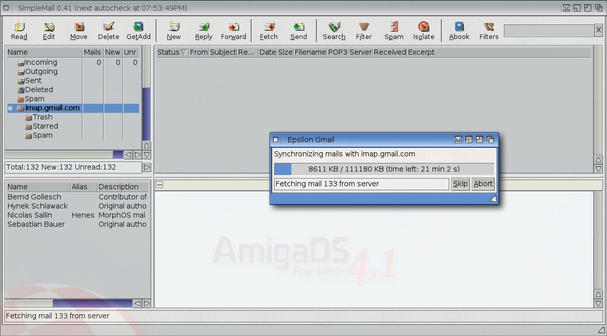 Epsilon's Amiga Blog: SimpleMail 0 41 Gmail IMAP on X1000