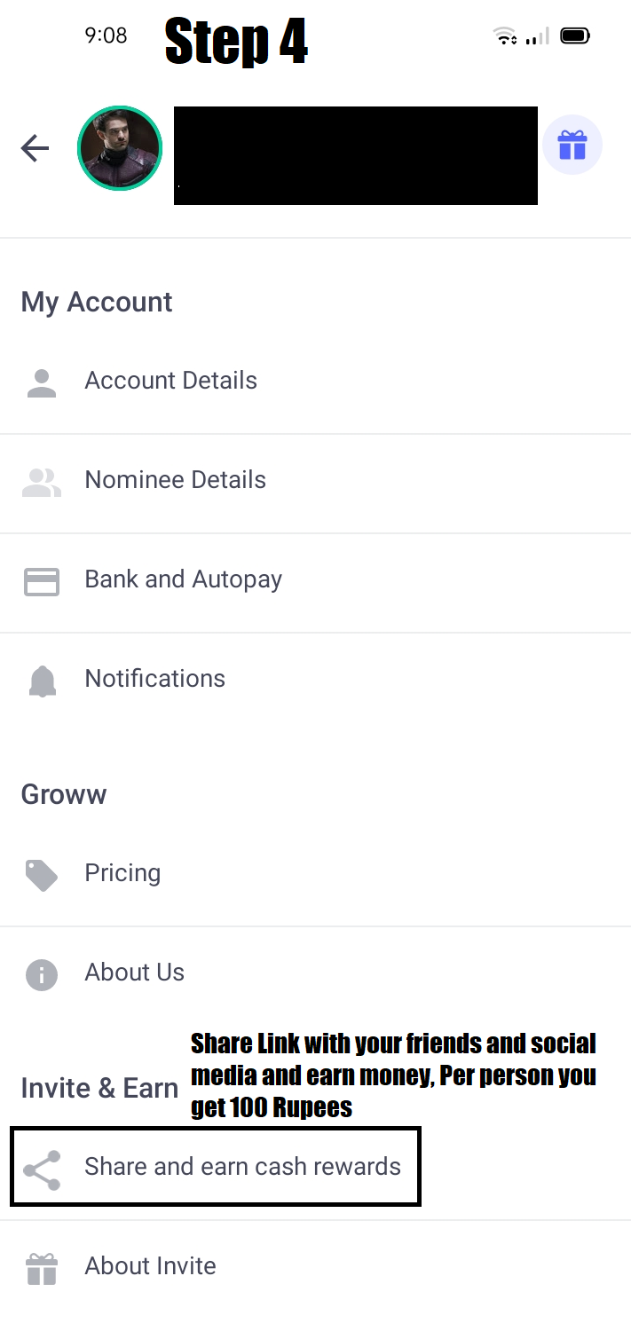 Share and earn money Groww App per person you get 100 Rupees