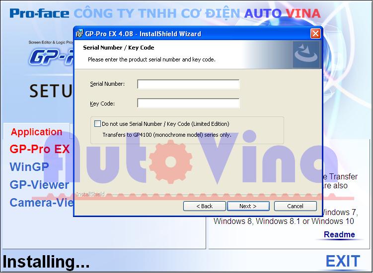 Hướng dẫn nhập Serial Number và Key code phần mềm GP-Pro EX 4.08