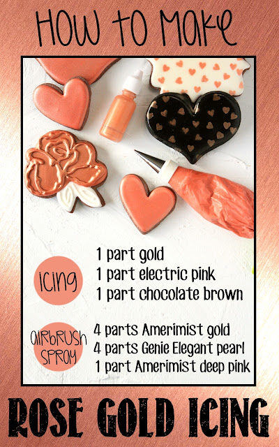 Color formulas for making rose gold colored icing and airbrush spray