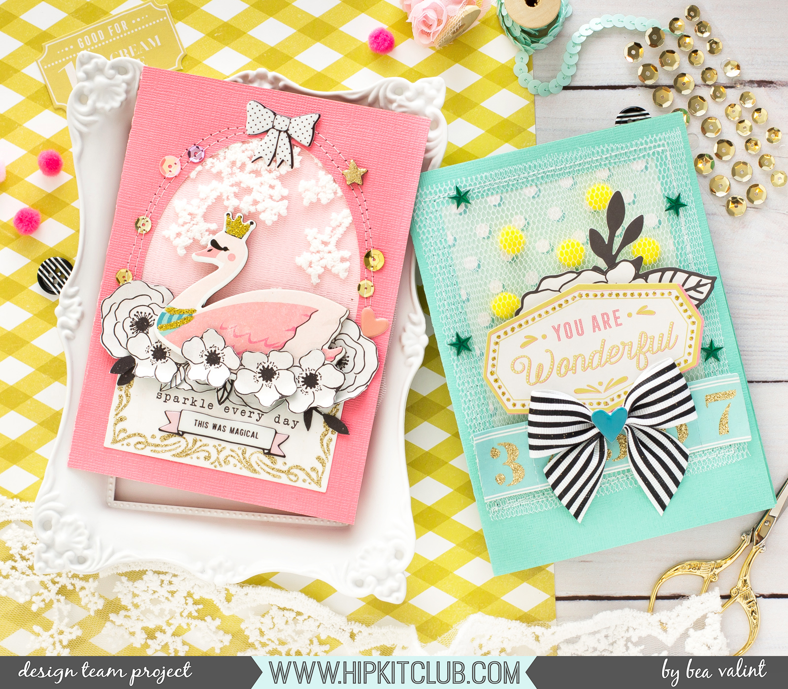 Bea Valint Romantic Cards With Carousel Collection Hip Kit Club Dt