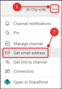 """تم تمييز خيارات القناة مع """"الحصول على عنوان البريد الإلكتروني""""."""