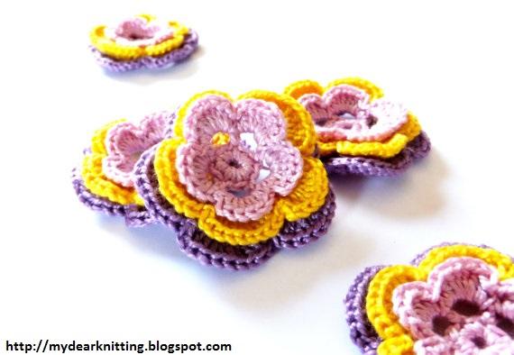 цветочки вязаные крючком схема