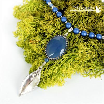 Cuicocha - naszyjnik z niebieskim chalcedonem
