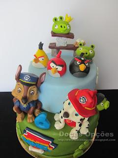 bolos decorados patrulha pata e angry birds bragança