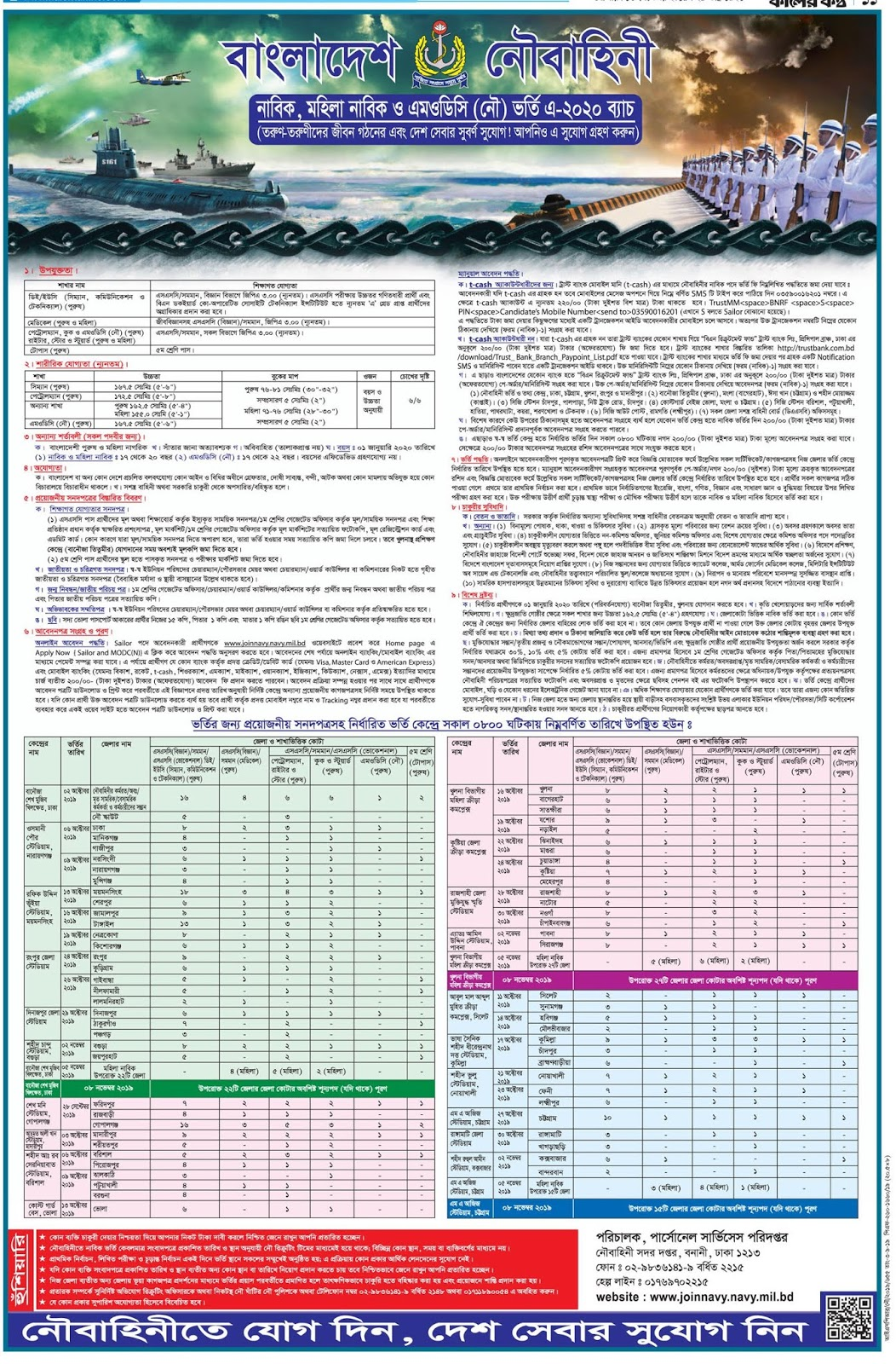 বাংলাদেশ নৌবাহিনীর নতুন নিয়োগ বিজ্ঞপ্তি প্রকাশ