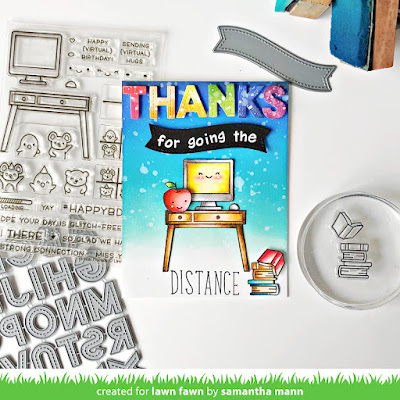 Thanks for Going the Distance Card by Samantha Mann for Lawn Fawn, YouTube Video, Handmade Cards, Card Making, Die Cuts, Distress Inks, Ink Blending, Teacher Appreciation, #lawnfawn, #youtube #video #distressinks #inkblending #teacherappreciation #cards #cardmaking #handmadecards