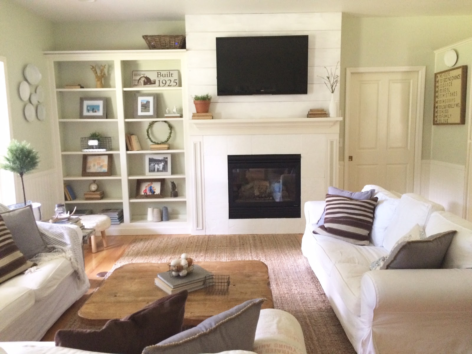 Farmhouse Style Shiplap Update Fireplace Before And After