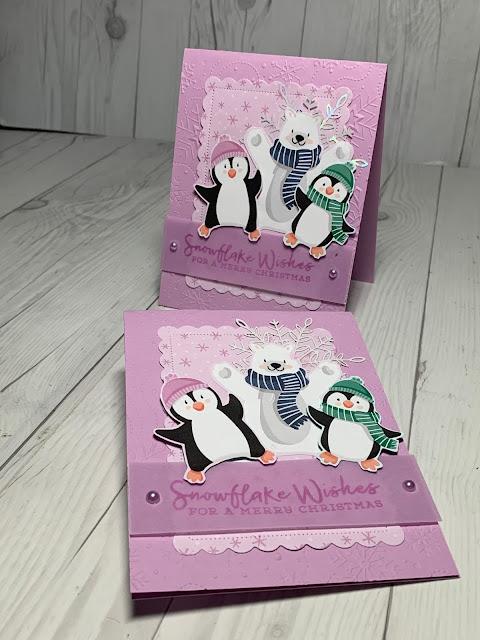 "Handmade penguin-themed Christmas Card using Stampin' Up! Peguin Playmates 12"" X 12"" Designer Series Paper | Item  #158420"