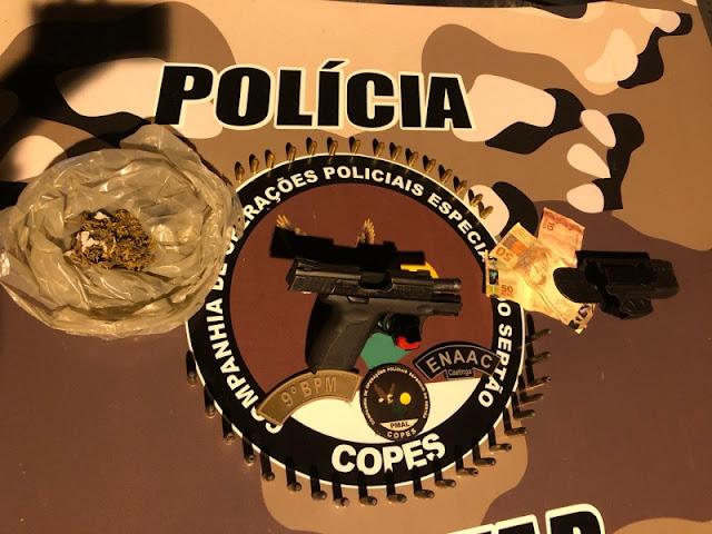 Em Canapi, após denúncia, Copes prende  homem com drogas,  arma e munições