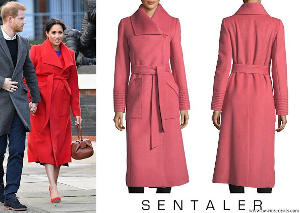 Meghan Markle wore Sentaler Long Wide-Collar Wrap Coat