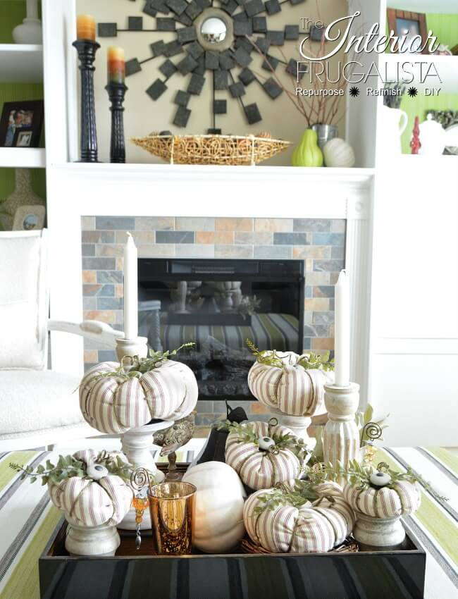 Ticking Fabric Pumpkins