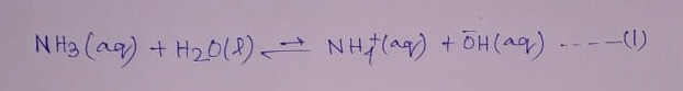 NH3 a weak base reacts partially with water and forms the following