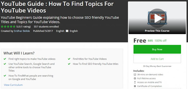 [100% Off] YouTube Guide : How To Find Topics For YouTube Videos | Worth 85$