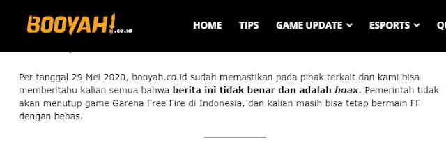 Free Fire Akan Tutup