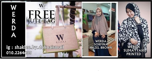 TERBARU Werda Sumayyah Printed, Werda Sorfina Hazel Brown dan FREE Jute Beg