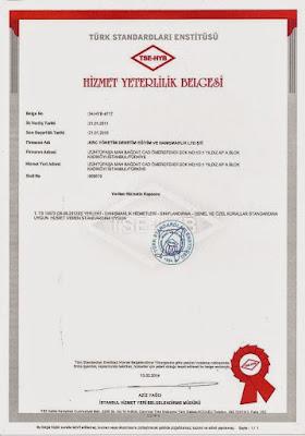 TSE Türk Standartları Enstitüsü / Hizmet Yeterlilik Belgesi
