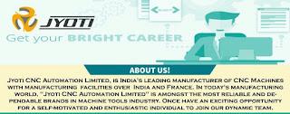 ITI And Diploma Jobs Walk In Interview For Jyoti Cnc Automation Limited Rajkot, Gujarat