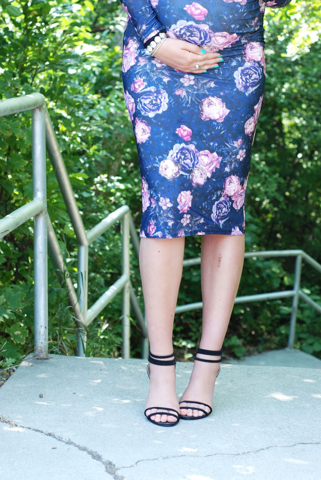 Black Heels, Floral Dress, Bump Style