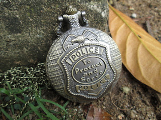 Jam Saku Antik (Antique Pocket Watch) Retro Police Quartz P388