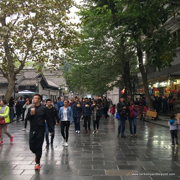 people stroll Wide Alley in Chengdu, China