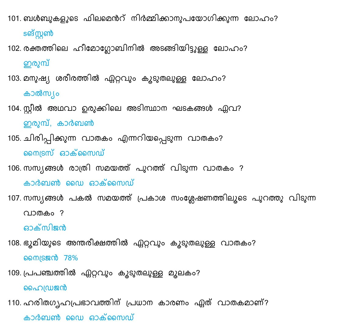 General Science Questions and Answers (Malayalam) - Set 6 ...