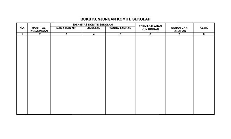 Contoh Format Bentuk Buku Kunjungan Komite Sekolah untuk Perlengkapan untuk Perlengkapan Administrasi TU (Tata Usaha) Sekolah