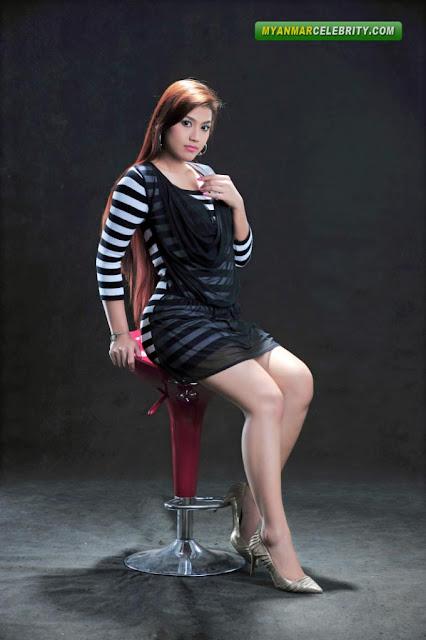 Pretty Model Ei Chaw Po In Black Amp White Stripe Mini Dress