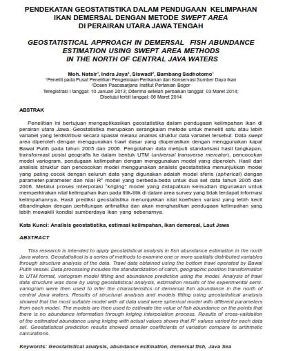 Pendekatan Geostatistika Dalam Pendugaan Kelimpahan Ikan Demersal [PAPER]