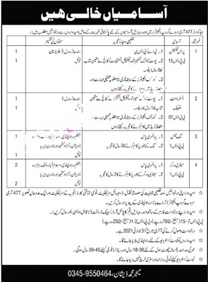Pak Army Jobs in Headquarters 477 Army Survey Group Engineers Adv.