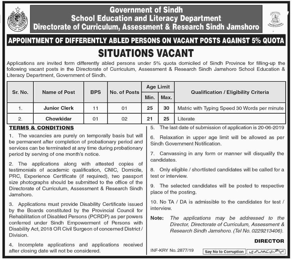 School Education & Literacy Department Jamshoro Sindh Jobs 2019