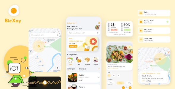 Food and Delivery App Sketch Template