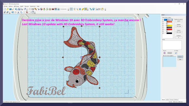 Compatibilité version 1903 Windows 10 et 4D Embroidery system.