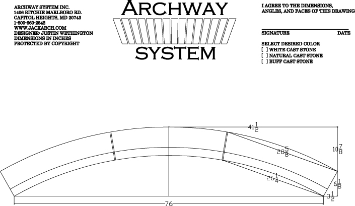 archway system simple geometry Triumphal Arch Diagram after 7 days the stone is 95% cured and ready to install here is a shop drawing of the radial arch with soffit