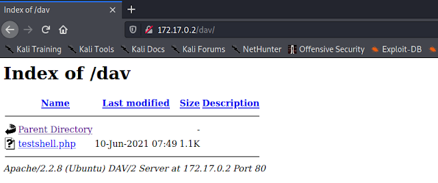 cadaver uploaded web payload on the server