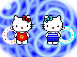 Gambar Wallpaper Hello Kitty Berenang Terbaru Pakai Ban Lucu