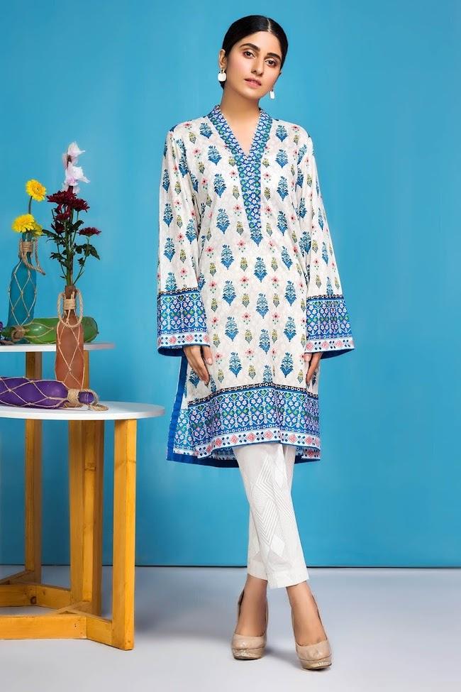 Warda Blue printed lawn shirt